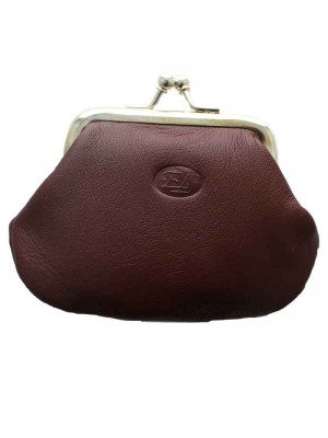 Ladies Leather Coin Purse - Burgundy