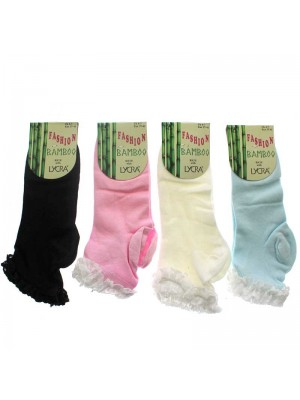 Wholesale Ladies Fashion Bamboo Socks With Quality Lace Trim - Assorted Colours