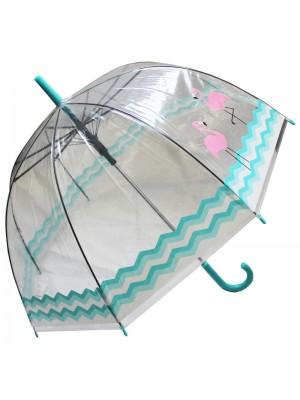 Ladies Flamingo Blue Waves Clear Dome Umbrella