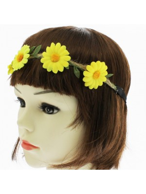Ladies Flower Design Elasticated Bandeaux - Yellow