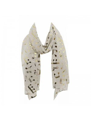 Wholesale Ladies Foil Scarf - Music Notes (Off-White)