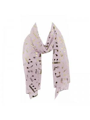 Wholesale Ladies Foil Scarf - Music Notes (Pastel Pink)