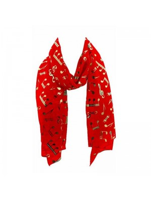 Wholesale Ladies Foil Scarf - Music Notes (Red)