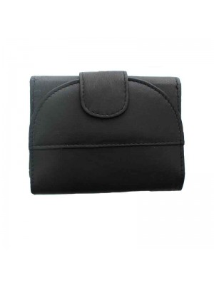 Ladies Folding Leather Purse - Black