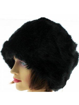 Ladies Fur Thick Hat with Quilted Inner Lining - Black