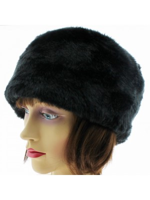 Ladies Fur Hat with Quilted Inner Lining - Black