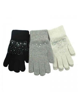 Ladies Knit Gloves with Small Diamante - Assorted Colours 12 Pack