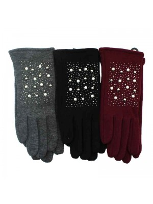 Ladies Knit Gloves with Pearl Design - Assorted Colours 12 pairs