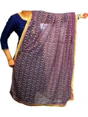 Wholesale Ladies Gota Patti Embroidery Ethnic Dupatta - Dark Lilac