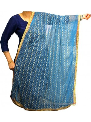Wholesale Ladies Gota Patti Embroidery Ethnic Dupatta - Turquoise Blue