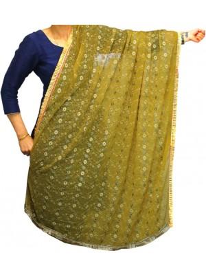 Wholesale Ladies Gota Patti Embroidery Ethnic Dupatta - Yellow