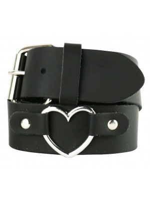Ladies Heart Design Black Leather Belt - Small