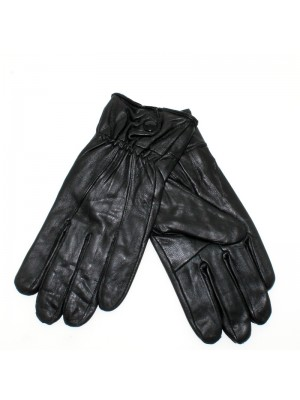 Ladies Leather Gloves With Elastic Cuffs - Black/Chocolate