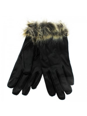 Ladies Leather Touchscreen Gloves with Fur Cuffs