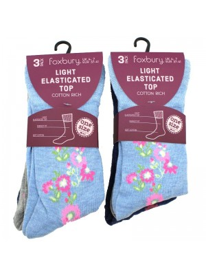 Ladies Light Elasticated Top Cotton Rich Socks - Assorted Colours