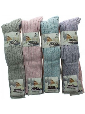 Ladies Long Wool Blend Socks Assorted Colours 4-7
