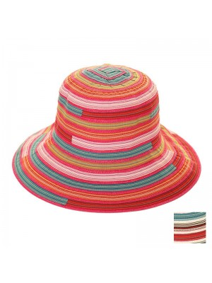 Ladies Multi Striped Short Brim Hat - Assorted Colours