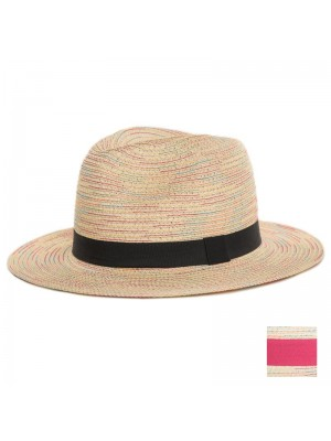 Ladies Multicoloured Straw Hat with Band - Assorted Colours