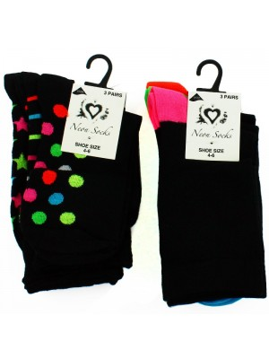 Ladies Neon Socks - Asst. Designs