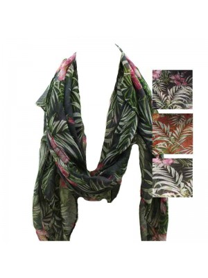 Ladies Palm Leaf Printed Scarf - Assorted Colours
