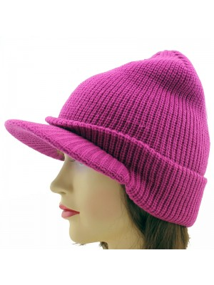 Ladies Plain Knitted Peak Hat - Assorted Colours