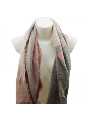 Ladies Grey and Pink Knitted Scarf