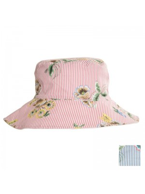 Ladies Pinstripe Floral Cotton Hat - Assorted Colours