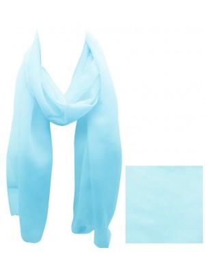 Ladies Plain Chiffon Scarf - Baby Blue