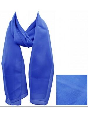 Ladies Plain Chiffon Scarf - Royal Blue