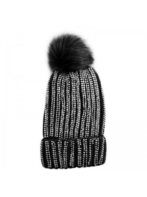 Ladies Pom-Pom Hat with Sequins - Black