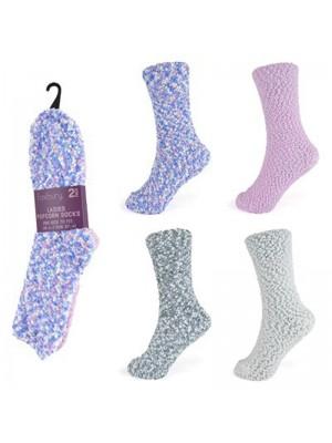 Wholesale Ladies Popcorn Slipper Socks(2 Pack) UK 4-7 - Assorted Colours