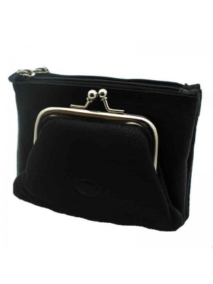 Ladies Black Leather Purse with Coin Attachment