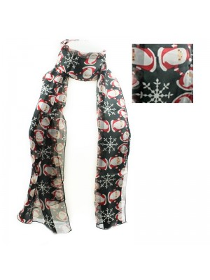 Ladies Santa Claus  Design Christmas Scarf - Black