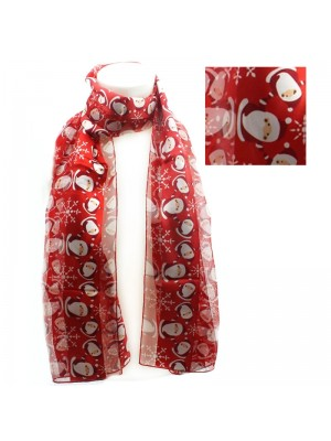 Ladies Santa Claus Design Christmas Scarf - Red