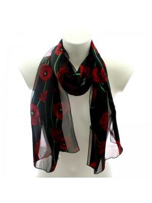 Wholesale Ladies Satin Scarf Flower Design - Black