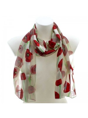 Wholesale Ladies Satin Scarf Flower Design - Cream