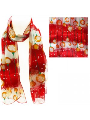 Ladies Satin Stripe Christmas Baubles Print Scarf- Red