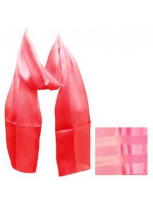 Ladies Satin Stripe Scarf - Red