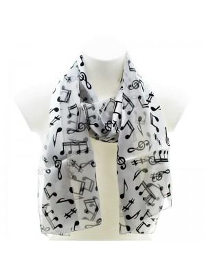 Wholesale Ladies Satin Stripe Scarf -  Music Notes (Black & White)