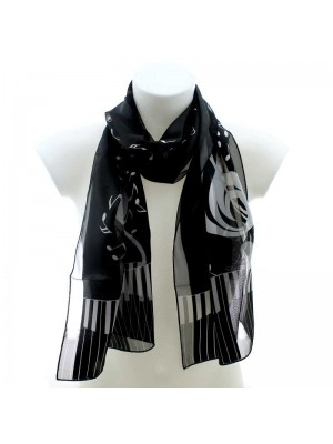 Wholesale Ladies Satin Stripe Scarf - Piano and Music Notes (Black & Silver)