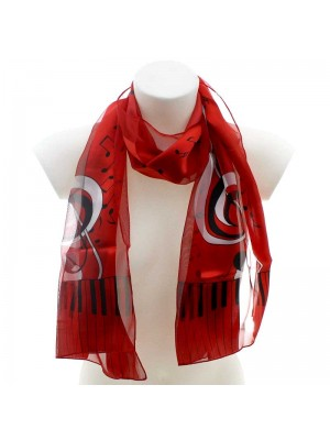 Wholesale Ladies Satin Stripe Scarf - Piano and Music Notes (Red & Silver)