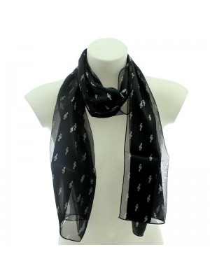 Wholesale Ladies Satin Stripe Scarf - Treble Clef Design (Black & Silver)