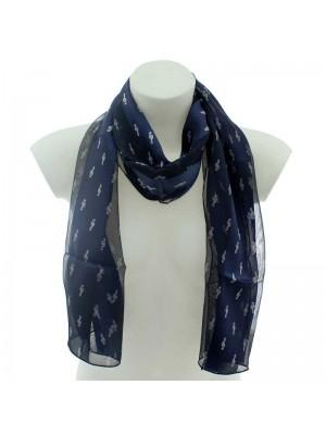 Wholesale Ladies Satin Stripe Scarf - Treble Clef Design (Navy & Silver)