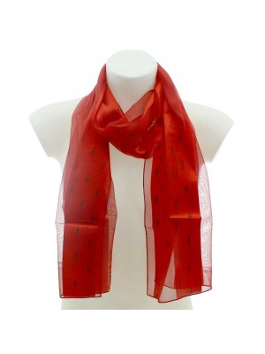 Wholesale Ladies Satin Stripe Scarf - Treble Clef Design (Red & Black)