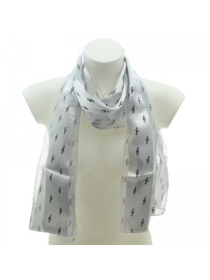 Wholesale Ladies Satin Stripe Scarf - Treble Clef Design (White & Black)