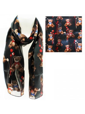 Ladies Satin Stripe Teddy Bears Print Scarf- Black