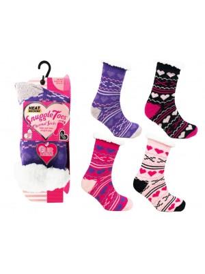 Wholesale Ladies Snuggle Toes Fur Lined Thermal Socks Assorted Heart Design(UK 4-8)