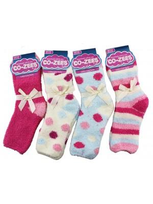 Wholesale Ladies Soft & Cosy Socks Assorted Design(UK 4-8)