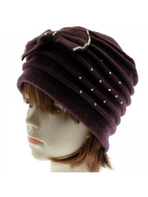Ladies Soft Wool Cloche Hat with Bow & Diamante - Purple