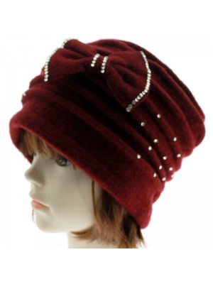 Ladies Soft Wool Cloche Hat with Bow & Diamante - Red